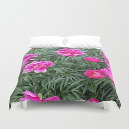 Coral Fay Peonies Duvet Cover