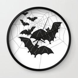 Black Bats with Spider Web Halloween Wall Clock