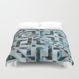 Abstract Geometric Labradorite on Mother of pearl Duvet Cover
