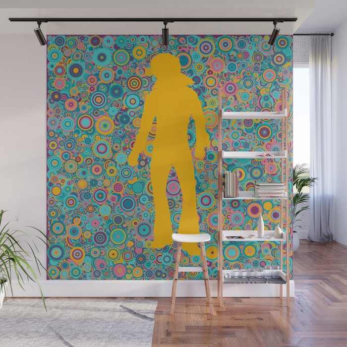 Psychedelic funky Seventies disco party Wall Mural