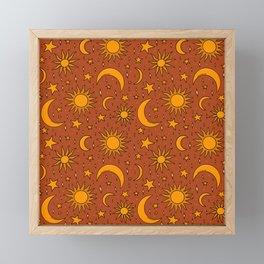 Vintage Sun and Star Print in Rust Framed Mini Art Print