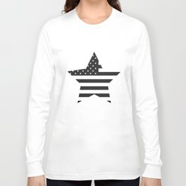 American Flag Stars and Stripes Black White Long Sleeve T-shirt