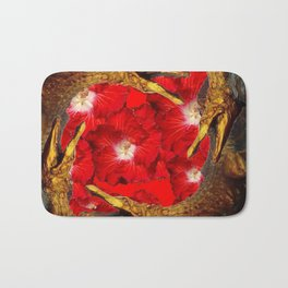 RED BLOODY HIBISCUS FLOWERS ALLIGATORS GOLD ART Bath Mat