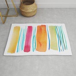 15   |181026 Lines & Color Block | Watercolor Abstract | Modern Watercolor Art Rug