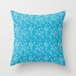 Seashells and Starfish - Blue and White Throw Pillow