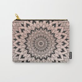 Boho black watercolor floral mandala rose gold glitter ombre pastel blush pink Carry-All Pouch