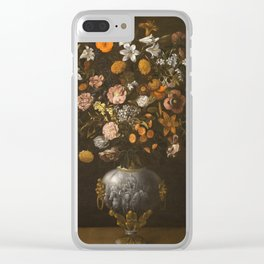 Hiepes  Tomas - Vase Of Flowers With A Triumphal Chariot Seen Frontally Clear iPhone Case