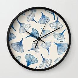 Ginko leaves blue Wall Clock