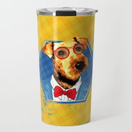 Hipster Airedale Terrier Travel Mug