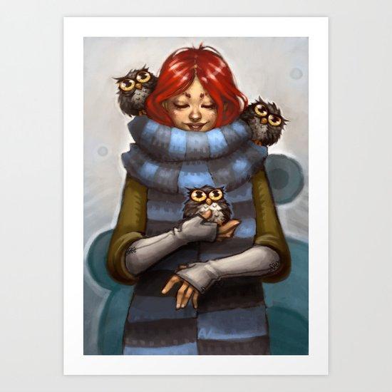 Girl with Owls Art Print