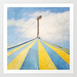 Big Top Circus Tent Surreal Blue and Yellow Photograph Art Print