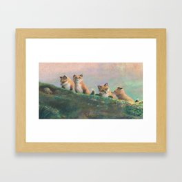 Red Fox Kits First Outing Framed Art Print