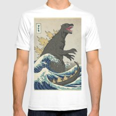 The Great Godzilla off Kanagawa MEDIUM White Mens Fitted Tee