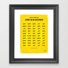No032 My Gone In 60 Seconds minimal movie poster Framed Art Print