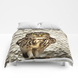 Small Owl In Camouflage Comforters
