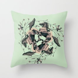 Horses and birds Throw Pillow