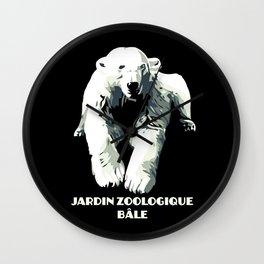 Vintage vector Zoo ad Basel polar bear Wall Clock