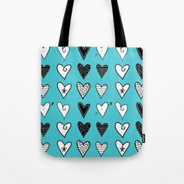 Baby Blue Heart Doodles Tote Bag