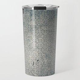 Geometric Grunge Blue - Gray Vertical Black Stripes Polka Dots Illustration Travel Mug