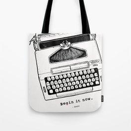 Begin It Now: Retro Typewriter Artwork Tote Bag