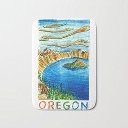 Crater Lake National Park - Oregon Travel Poster Bath Mat