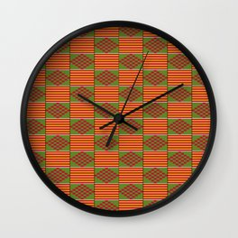 African Bright Kente Pattern Wall Clock