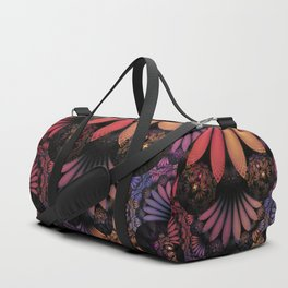 Pastel & Paisley Plume of Rainbow Fractal Feathers Duffle Bag