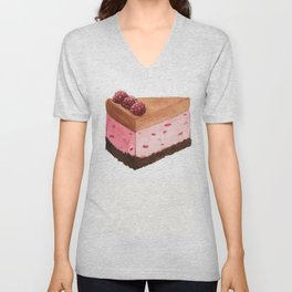 Raspberry Ice Cream Cake Slice Unisex V-Neck
