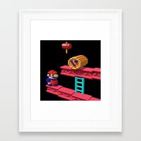 donkey kong Framed Art Prints featuring Inside Donkey Kong by Metin Seven