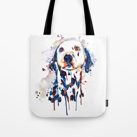 Dalmatian Head Watercolor Portrait Tote Bag