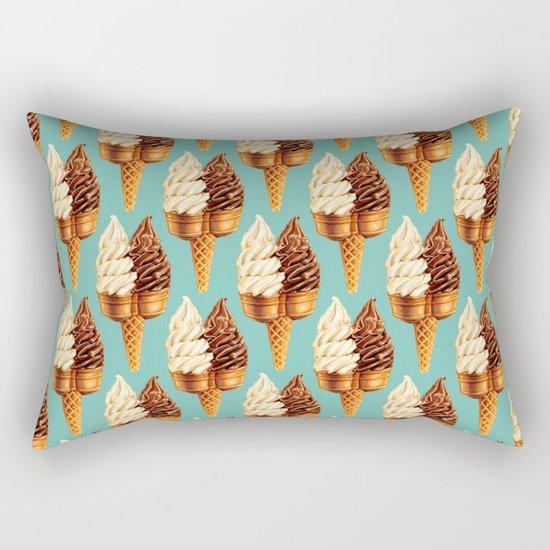 Ice Cream Pattern - Teal Rectangular Pillow