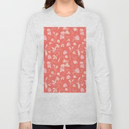 Elegant Vine and Leaves Pattern Living Coral Long Sleeve T-shirt