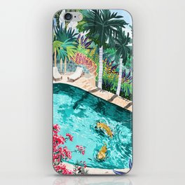 Luxury Tiger Villa illustration, Architecture Travel Nature Painting, Hotel Landscape Garden iPhone Skin
