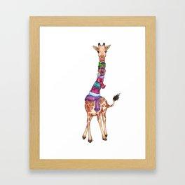 Cold Outside - cute giraffe illustration Framed Art Print