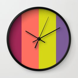 Pantone Living Coral Trippy Retro Bold Wide Vertical Lines Wall Clock