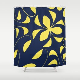 Leafy Vines Yellow and Navy Blue Shower Curtain