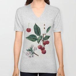 Cherry Botanical Art Unisex V-Neck