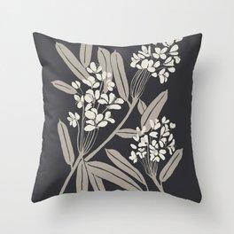 Boho Botanica Black Throw Pillow