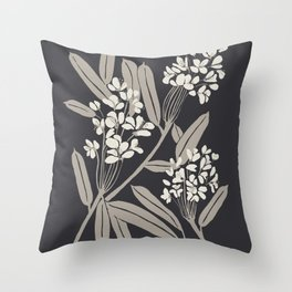 Boho Botanica Black Throw Pillow