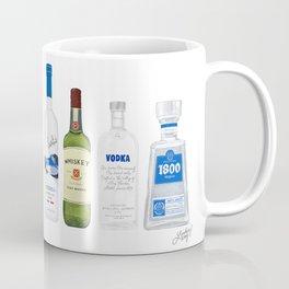 Tequila, Whiskey, Vodka Bottles Illustration Coffee Mug