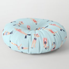 swimmers with fins pattern Floor Pillow