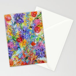 Floral Explosion 2, Floral Home Decor, Bright Colors Stationery Cards