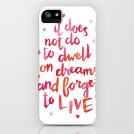dumbledore live quote (coral) iPhone Case