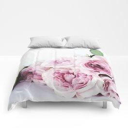 Pink peoniews Comforters