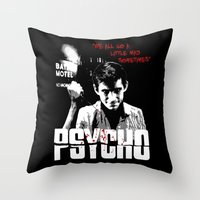 psycho Throw Pillows featuring Psycho by PsychoBudgie