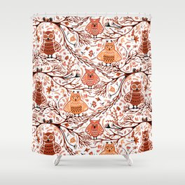 Cute Owls in Fall on Tree Branches Shower Curtain