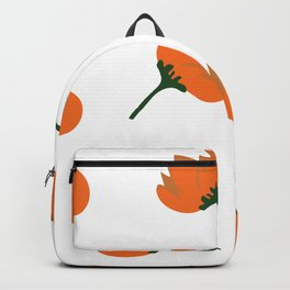 Simple Orange Random Flower Pattern Backpack