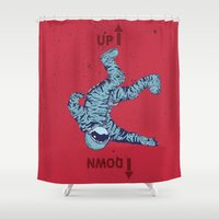 spaceman Shower Curtains featuring Bad Spaceman by Stefan Grolin
