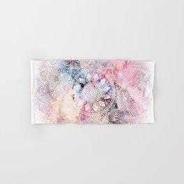 Whimsical white watercolor mandala design Hand & Bath Towel