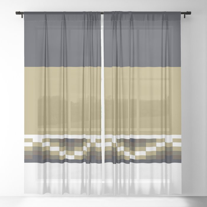 Block Wave Illustration 2 Thick Bold Horizontal Lines Digital Artwork Sheer Curtain